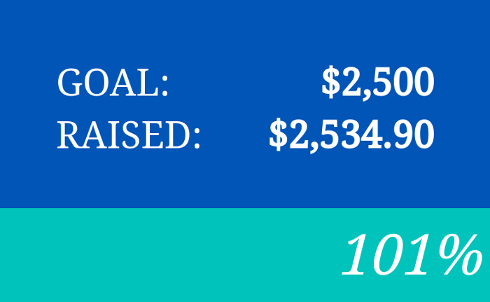 Yay, Liz hit her fundraising goal by 101%